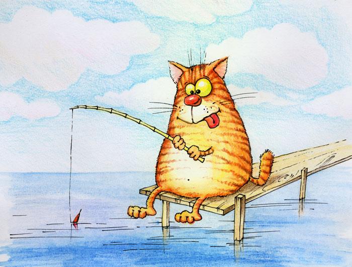 картинки кот на рыбалке и рыбки